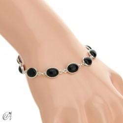 Silver bracelet with oval stones - ónix