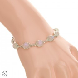 Silver bracelet with oval stones - moonstone