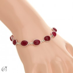 Silver bracelet with oval stones - ruby