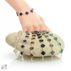 Silver bracelet with stones - squares