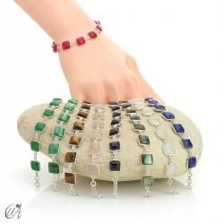 Square stone bracelet in silver