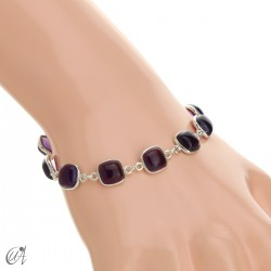 Silver bracelet with cushion cut stones - amethyst