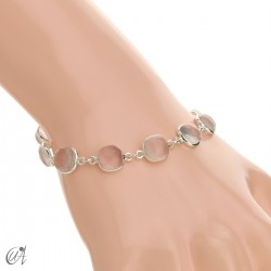 Silver bracelet with cushion cut stones - rose quartz