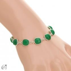 Pulsera de plata y piedras talla cojín - zafiro verde