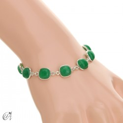 Silver bracelet with cushion cut stones - green sapphire