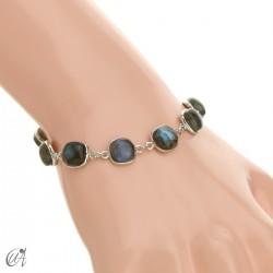 Silver bracelet with cushion cut stones - labradorite