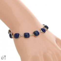 Silver bracelet with cushion cut stones - lapis lazuli