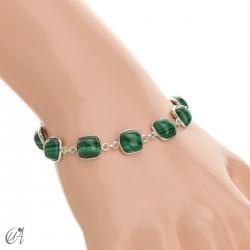 Silver bracelet with cushion cut stones - malachite
