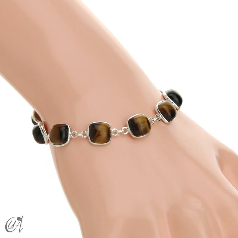 Silver bracelet with cushion cut stones - tiger eye