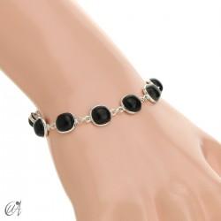 Silver bracelet with cushion cut stones - onyx