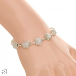 Silver bracelet with cushion cut stones - moonstone