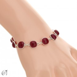 Silver bracelet with cushion cut stones - ruby