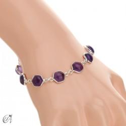Hexagonal gemstone bracelet in sterling silver - amethyst