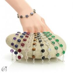 Hexagonal gemstone bracelet in sterling silver