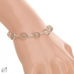 Hexagonal gemstone bracelet in sterling silver - rose quartz