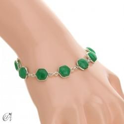 Pulsera de gemas hexagonales en plata de ley - zafiro verde
