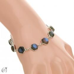 Hexagonal gemstone bracelet in sterling silver - labradorite