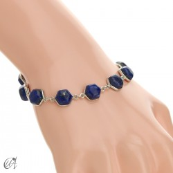 Hexagonal gemstone bracelet in sterling silver - lapis lazuli
