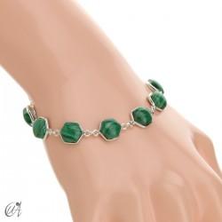 Hexagonal gemstone bracelet in sterling silver - malachite