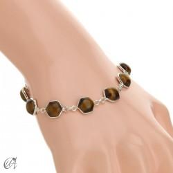 Hexagonal gemstone bracelet in sterling silver - tiger eye