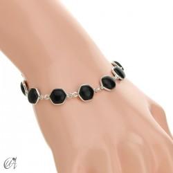 Hexagonal gemstone bracelet in sterling silver - onyx
