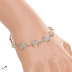 Hexagonal gemstone bracelet in sterling silver - moonstone