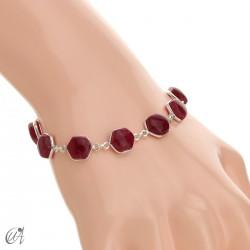 Pulsera de gemas hexagonales en plata de ley - rubí