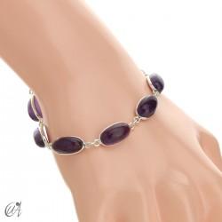 Oval bracelet, sterling silver with amethyst