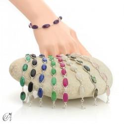 Oval bracelet, sterling silver with gemstones