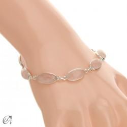 Oval bracelet, sterling silver with rose quartz
