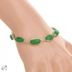 Pulsera óvalos, plata de ley con gemas - zafiro verde
