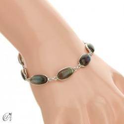 Oval bracelet, sterling silver with labradorite