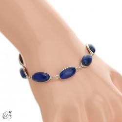 Oval bracelet, sterling silver with lapis lazuli