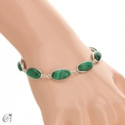 Oval bracelet, sterling silver with malachite