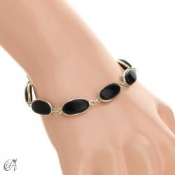Oval bracelet, sterling silver with onyx