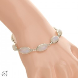 Oval bracelet, sterling silver with moonstone