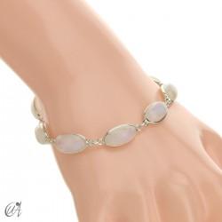 Pulsera óvalos, plata de ley con gemas - piedra luna