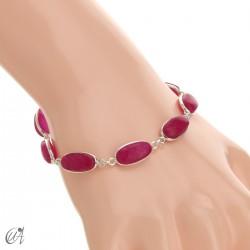 Oval bracelet, sterling silver with ruby