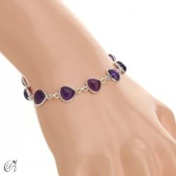 Pear gemstone bracelet in sterling silver - amethyst