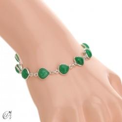 Pulsera con gemas pera en plata de ley - zafiro verde