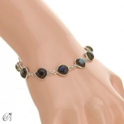 Pear gemstone bracelet in sterling silver - labradorite