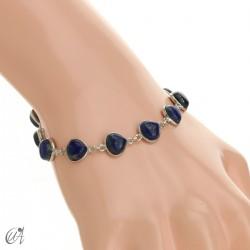 Pear gemstone bracelet in sterling silver - lapis lazuli