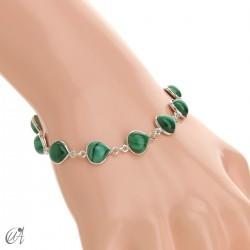 Pear gemstone bracelet in sterling silver - malachite