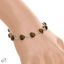 Pear gemstone bracelet in sterling silver - tiger eye