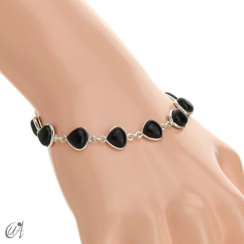 Pear gemstone bracelet in sterling silver - onyx