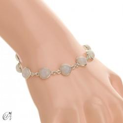 Pulsera con gemas pera en plata de ley - piedra luna