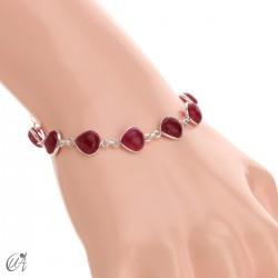 Pulsera con gemas pera en plata de ley - rubí