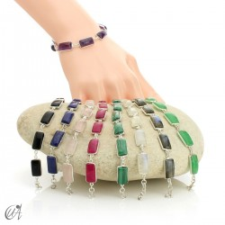 Silver bracelet with rectangular gems