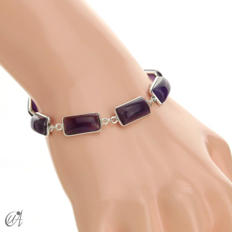 Silver bracelet with rectangular gems - amethyst