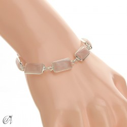 Silver bracelet with rectangular gems - rose quartz